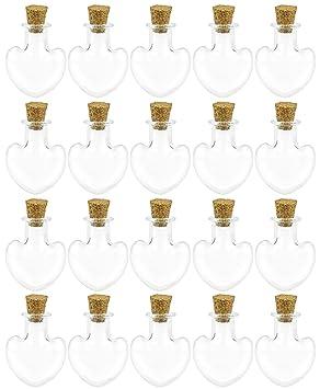FiveSeasonStuff 20 piezas Mini Botellas de Vidrio Transparente, Deseando Botellas, Botellas de Deriva,