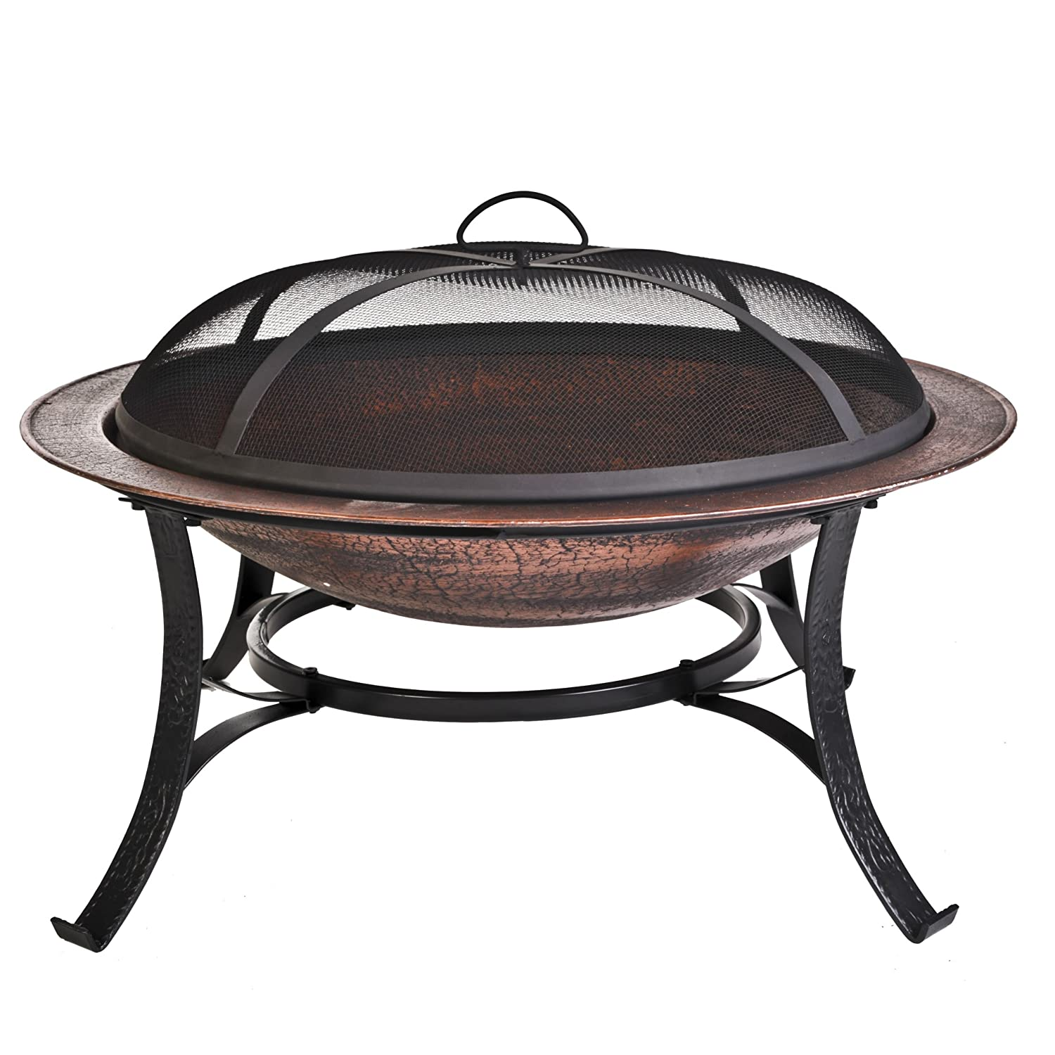 Round Cast Iron Copper Finish Fire Pit with Screen