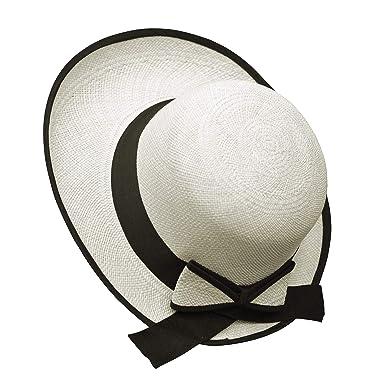 59c6f244d6a Original Panama Hat - Women s Elegant Visor - Black Bow Band - Handmade in  Ecuador by Ecua-Andino at Amazon Women s Clothing store