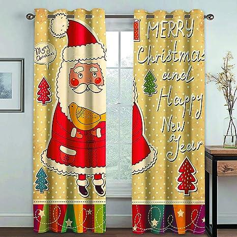 YUNSW Cortinas Decorativas Navideñas con Impresión Digital 3D ...