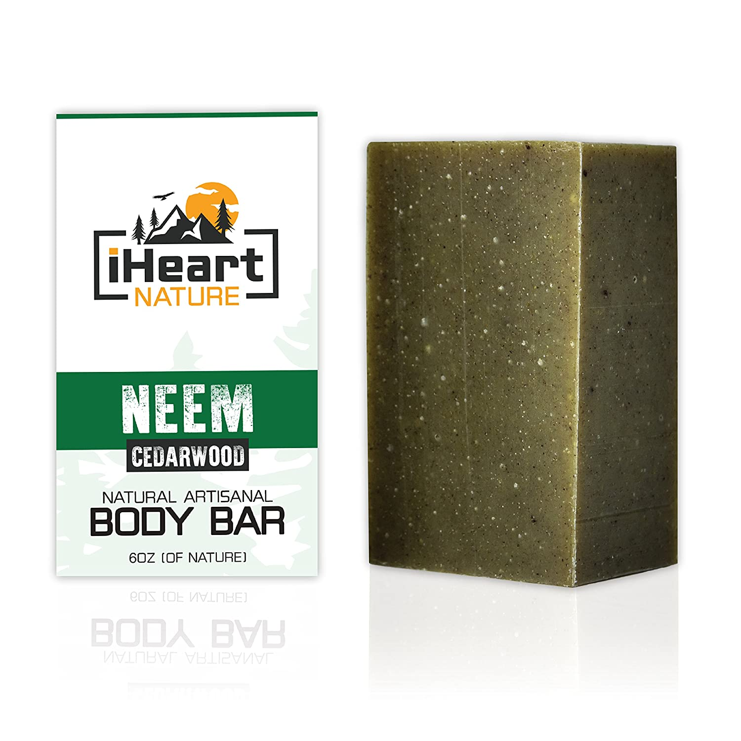 Organic Neem Soap Bar (Large 6 Ounce) Made in USA (Neem Helps With Athlete's Foot, Ringworm, Jock Itch, Skin Fungus and Yeast Infections) Natural Herbal Body Odor Eliminating Soap