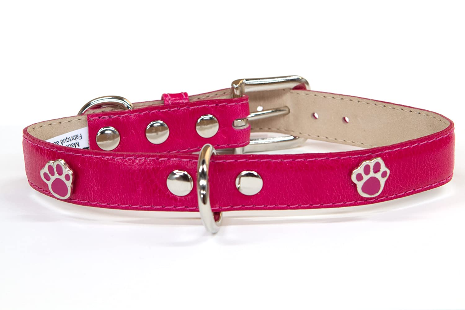 blueemax Genuine Leather Vintage Cow Dog Collar with Paw Stud, 5 8-Inch by 8-Inch, Fushia