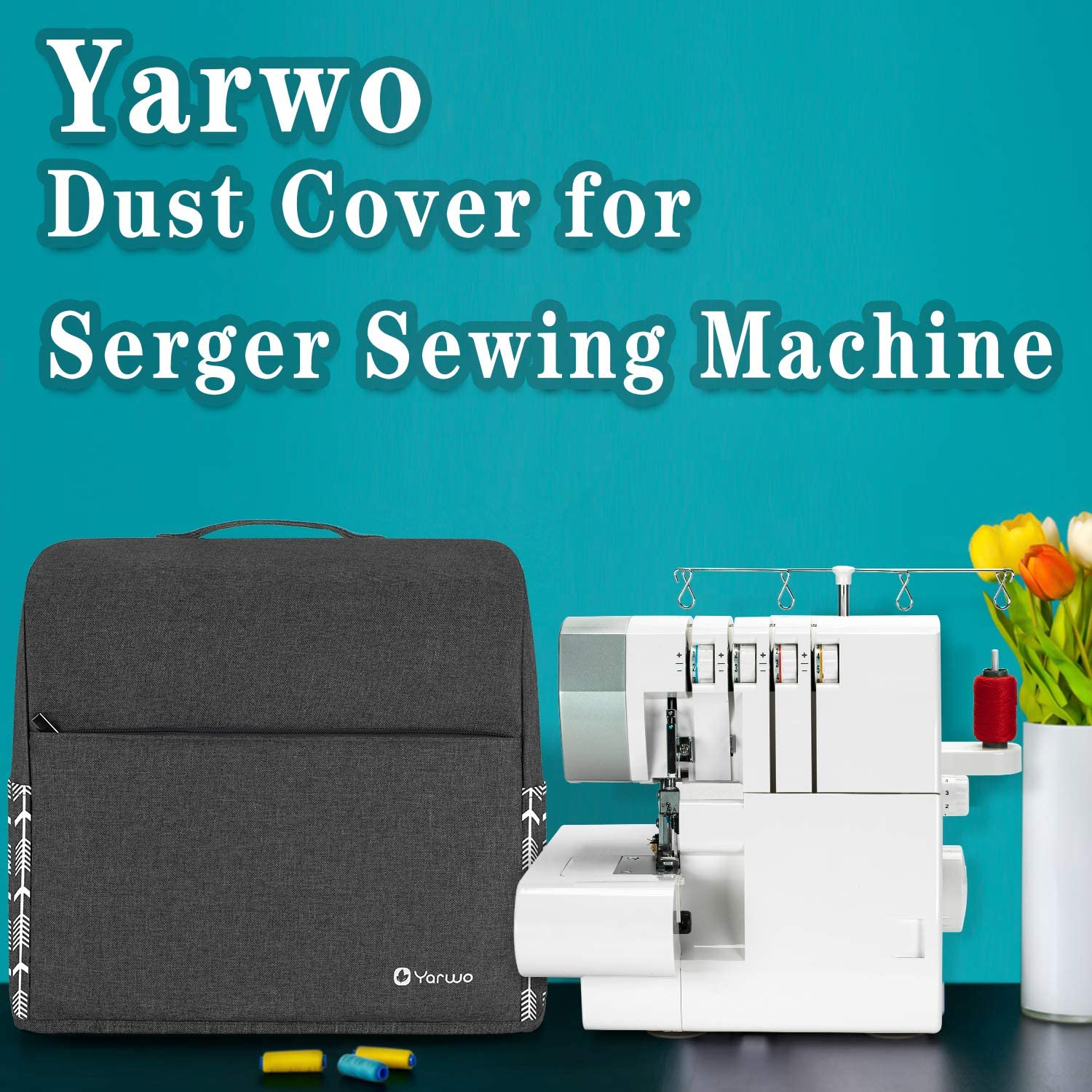 Yarwo Serger Sewing Machine Cover with Top Handle and Pockets Overlock Machine Dust Cover for Most Standard Singer or Brother Serger Gray with Arrow