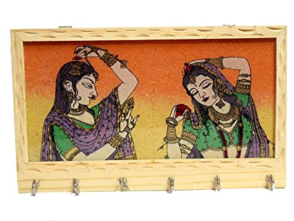 GEMSTONE PAINTING WOOD KEY CHAIN WALL HOLDER WITH SIX HOOKS FROM INDIA!!