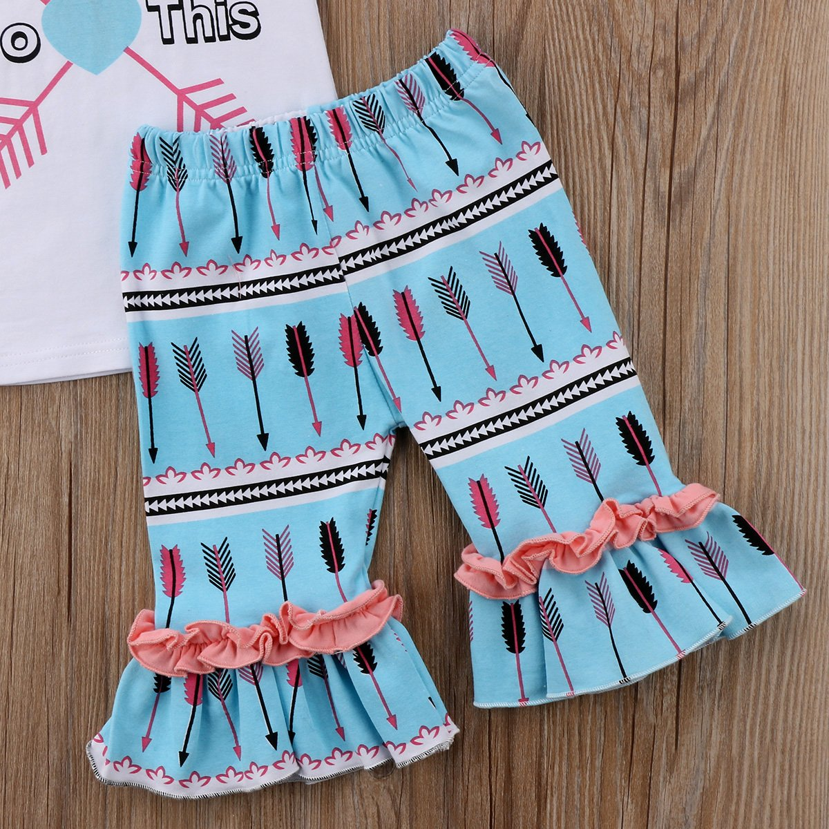 ThreeC Kids Little Girls Short Sleeve Letter T-Shirt and Arrows Ruffle Capri Legging Pants Outfit Set