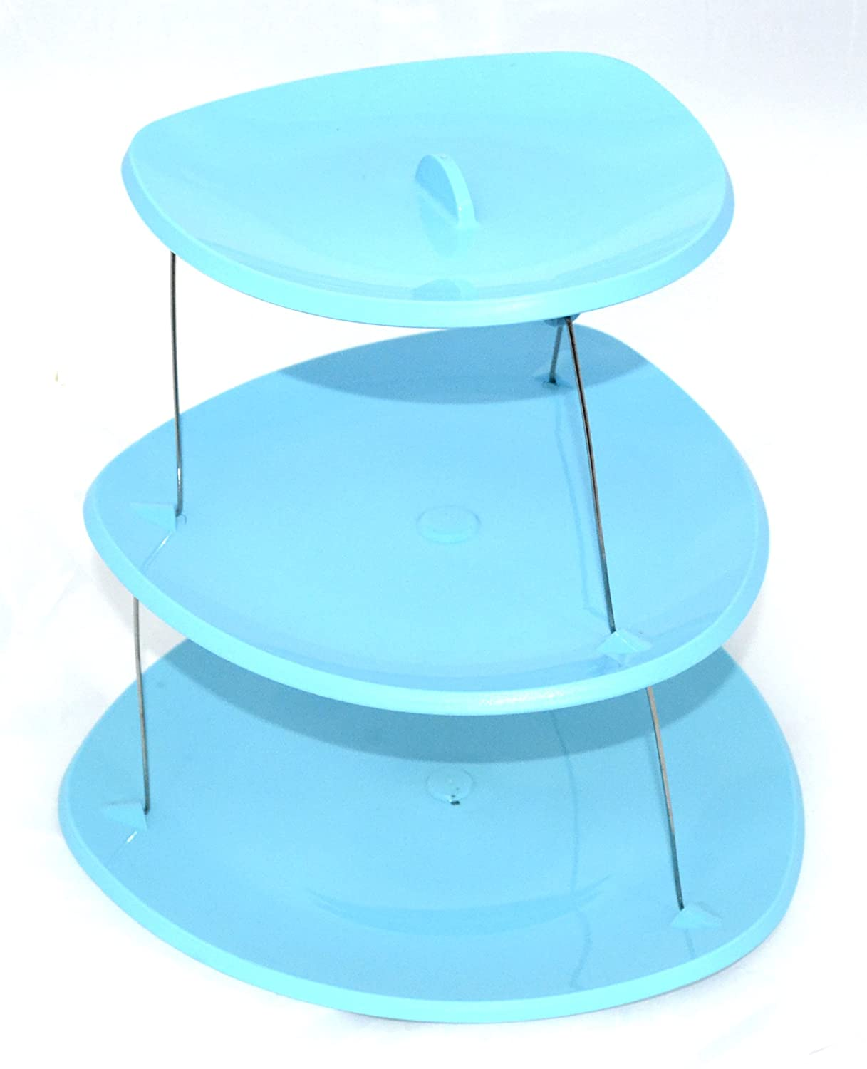 3 Tier Twistfold Flat Cake Stand/Paries,Gathering,Guests Collapsible Plates (Turquoise) S&S