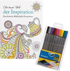 Idena 10122905 - Malbuch für Erwachsene, Motiv Inspiration, inklusive 10 Fineliner