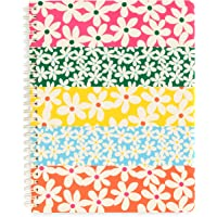 """Ban.do Floral Rough Draft Mini Spiral Notebook, 9"""" x 7"""" with Pockets and 160 Lined Pages, Daisies"""