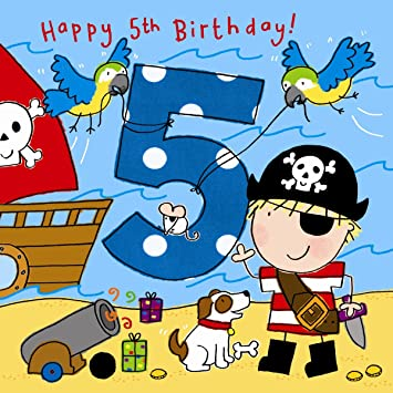 Twizler 5th Birthday Card For Boy With Pirate Dog And Glitter