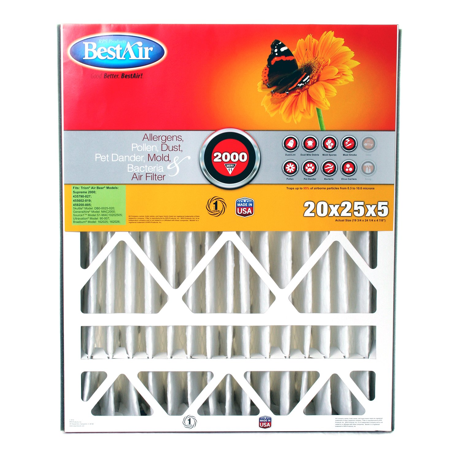 BestAir AB2025-11R Furnace Filter, 20'' x 25'' x 5'', Trion Air Bear Replacement, MERV 11