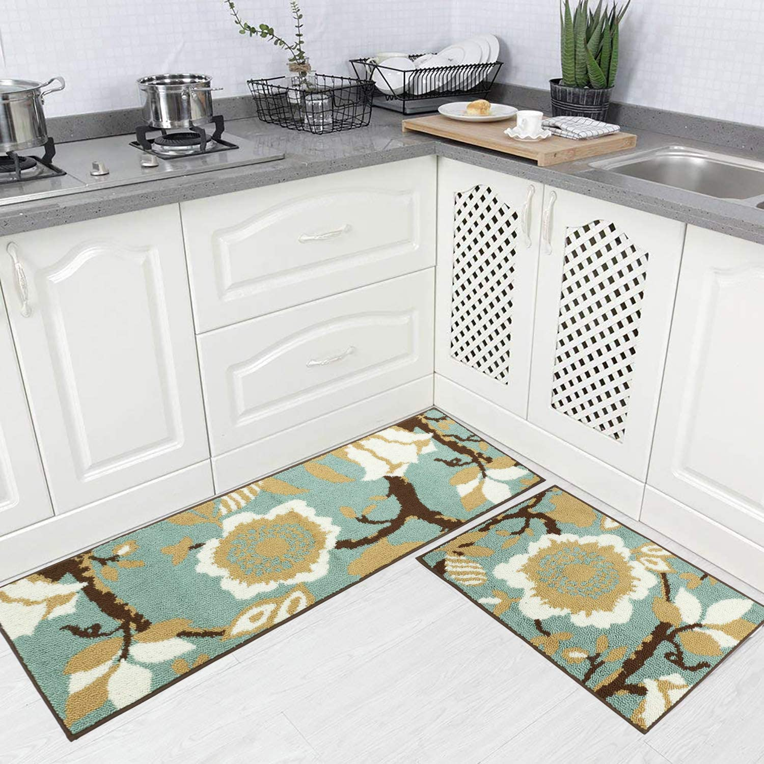 Homcomoda Kitchen Rugs and Mats Sets 4 Piece Runnners Non-Slip Rubber  Backing Floor Mat Floral Doormats Machine Washable(4¡Á4+4¡Á4 Inch)