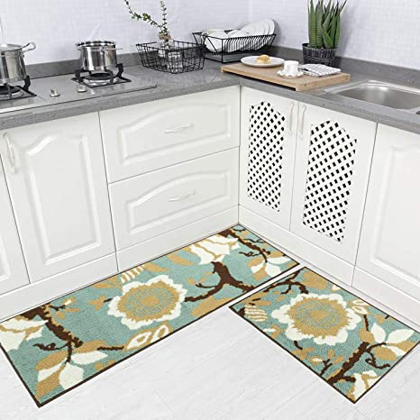 Homcomoda Kitchen Rugs and Mats Sets 2 Piece Runnners Non-Slip Rubber  Backing Floor Mat Floral Doormats Machine Washable(18×27+18×47 Inch)