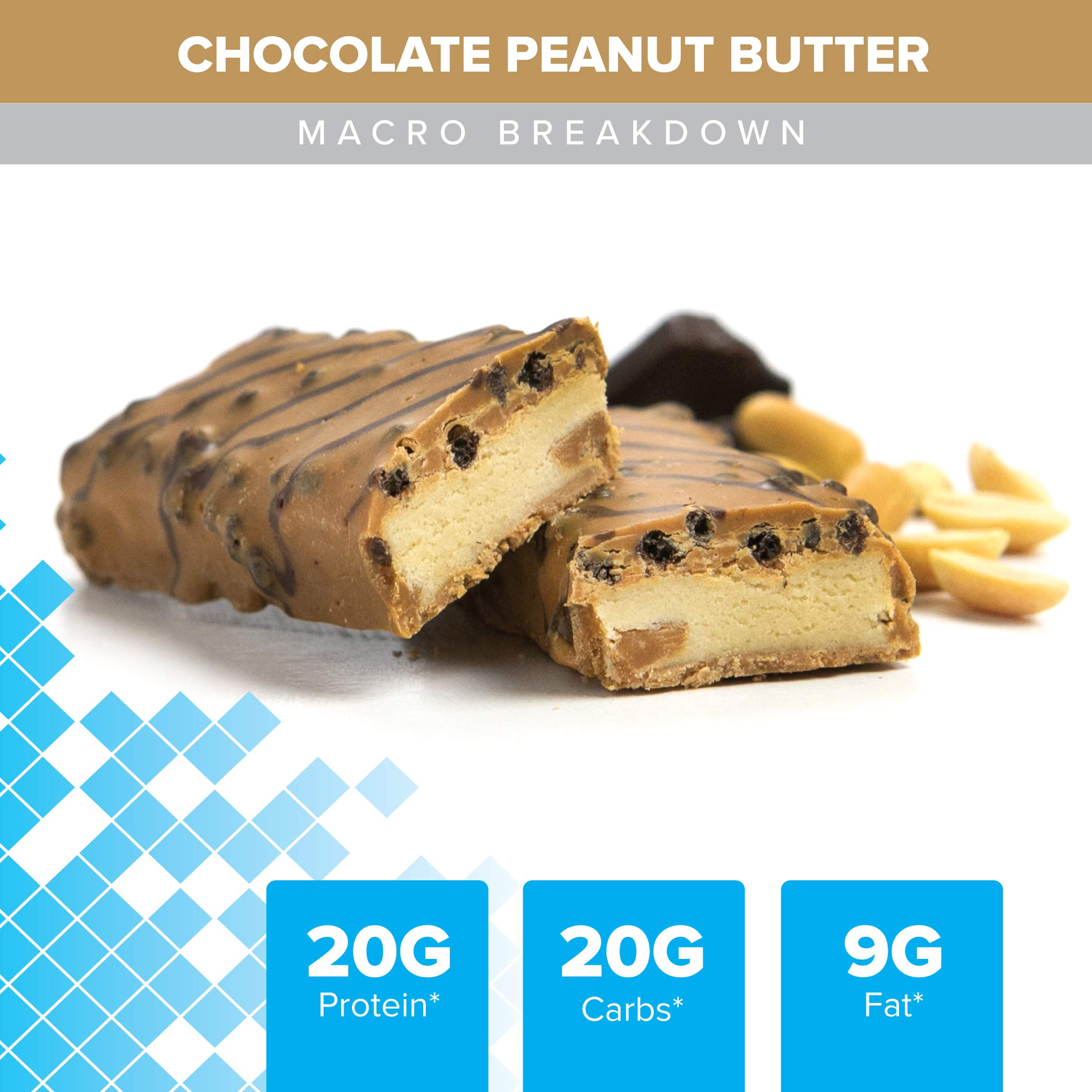 Bodybuilding Chocolate Peanut Butter Signature Protein Crunch Bar | 20g Whey Protein Low Sugar | Gluten Free No Artificial Flavors | 12 Bars by Bodybuilding.com