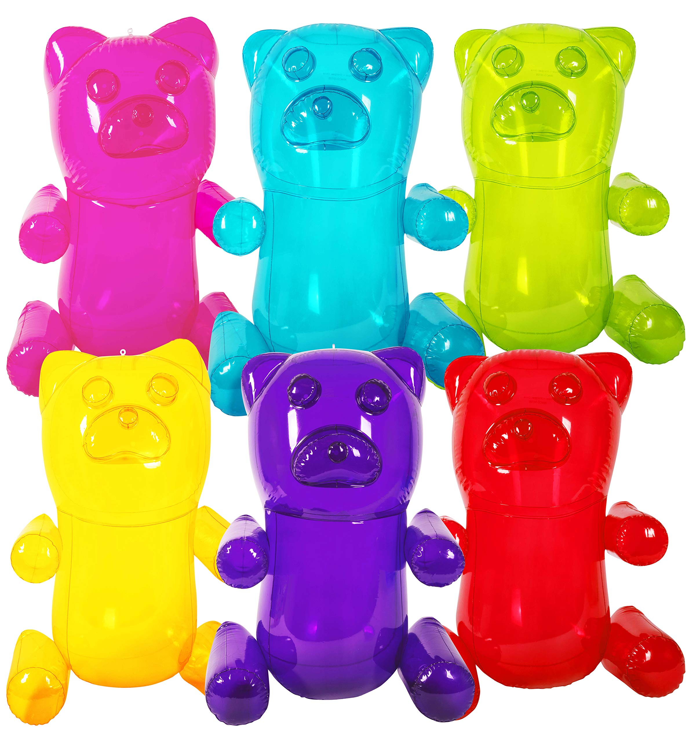 Kangaroo's HUGE 24'' Inflatable Gummy Bears (6-Pack); Girls Party Favors; Party Decor! Fun Colors by K Brands