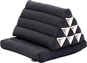 Leewadee Foldout Triangle Thai-Cushion Floor-Seat with Back-Rest Reading Pillow TV Pillow Lounge-r Foldable Out-Door Mattress, 30x20x16 inches, Kapok, Black