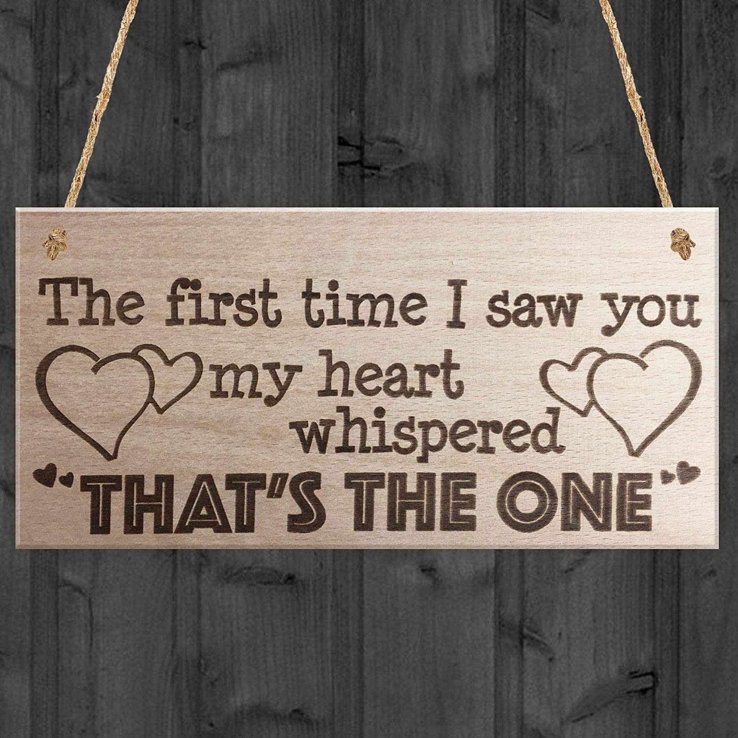 RED OCEAN The First Time I Saw You Wooden Hanging Plaque Soulmate Valentine Love Gift Sign