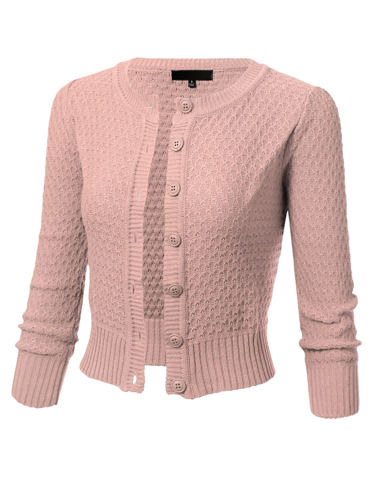 fe6d076402 Womens Button Down 3 4 Sleeve Crewneck Cropped Knit Cardigan Crochet  Sweater S Blush