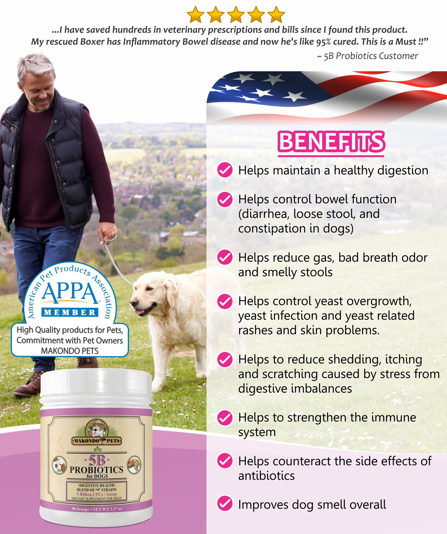 Makondo Pets Probiotics for Dogs & Puppies – Flavored, Made in USA, Extra Strength 9 Species Digestive Support Tummy Relief Enzyme Powder, 5 Billion CFUs per Scoop – 90 Scoops per Tub, 3.17 oz by Makondo Pets (Image #2)