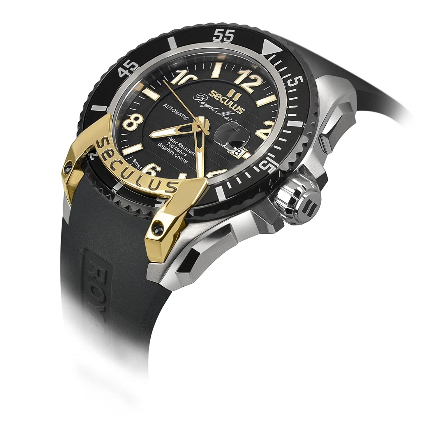 76cce5a35af SECULUS MEN S ROYAL MARINE FLAGSHIP 48MM AUTOMATIC WATCH 3441.7.2824 M SSY B   Amazon.it  Orologi