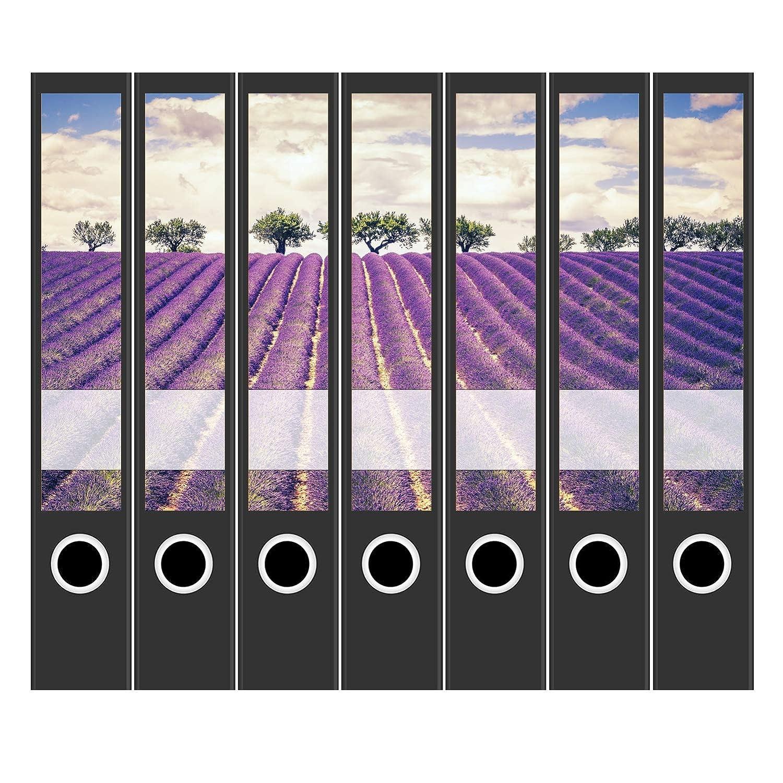 d/ünn 7 x Akten-Ordner Etiketten//Design Aufkleber//R/ücken Sticker//Lavendel Felder Frankreich//f/ür schmale Ordner//Ordnerr/ücken selbstklebend 3,7 cm schmal