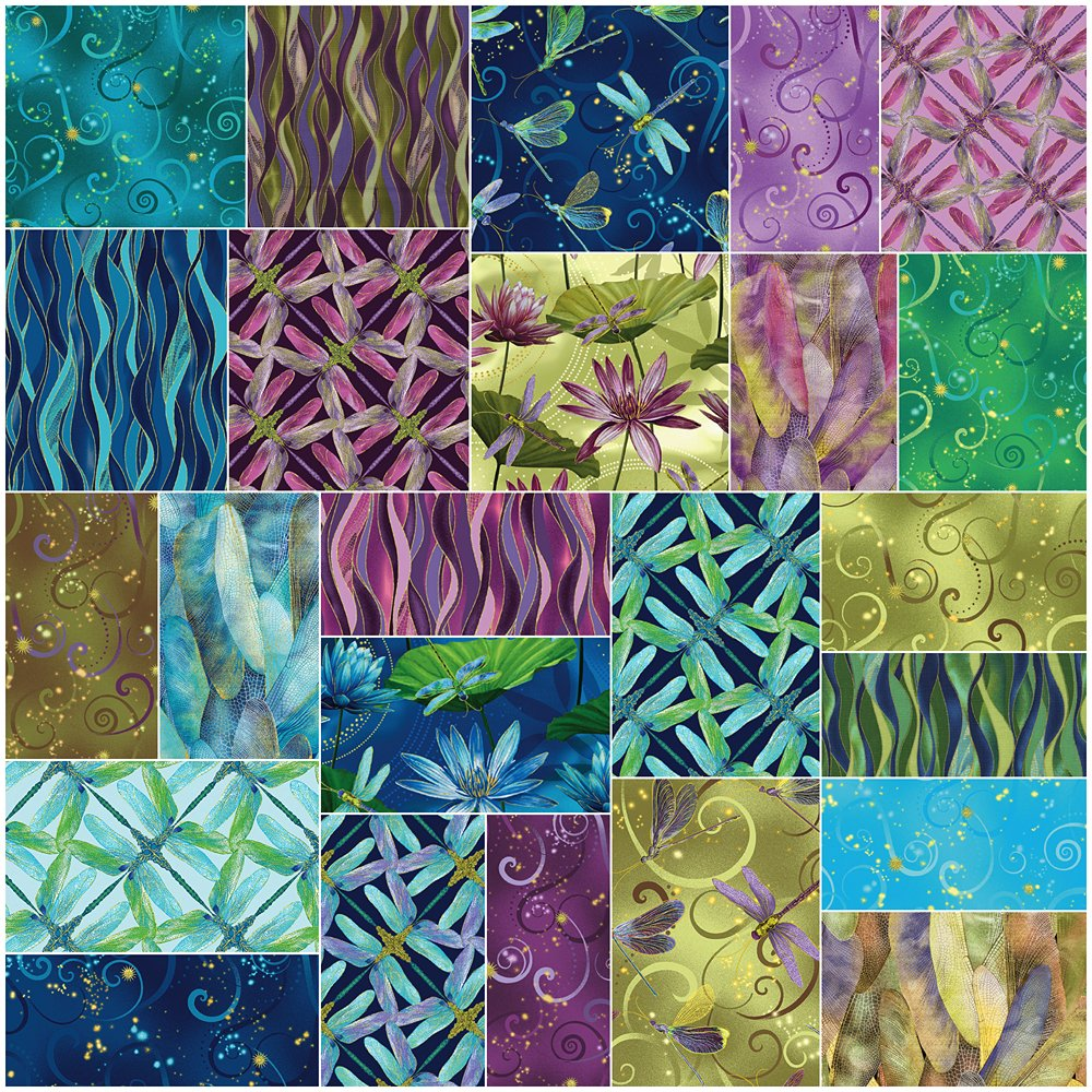 Benartex DANCE OF THE DRAGONFLY 10-inch Precut Squares Cotton Fabric Quilting Assortment Layer Cake by Benartex (Image #1)