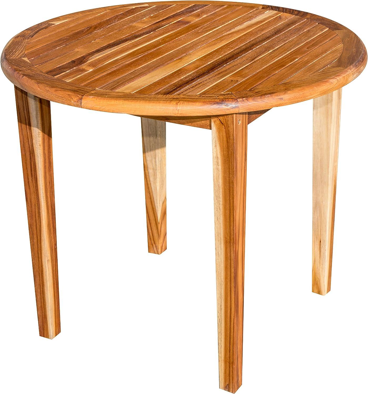 EcoDecors Oasis Round Teak Dining Table Indoor Outdoor, 36 Diameter, Brown