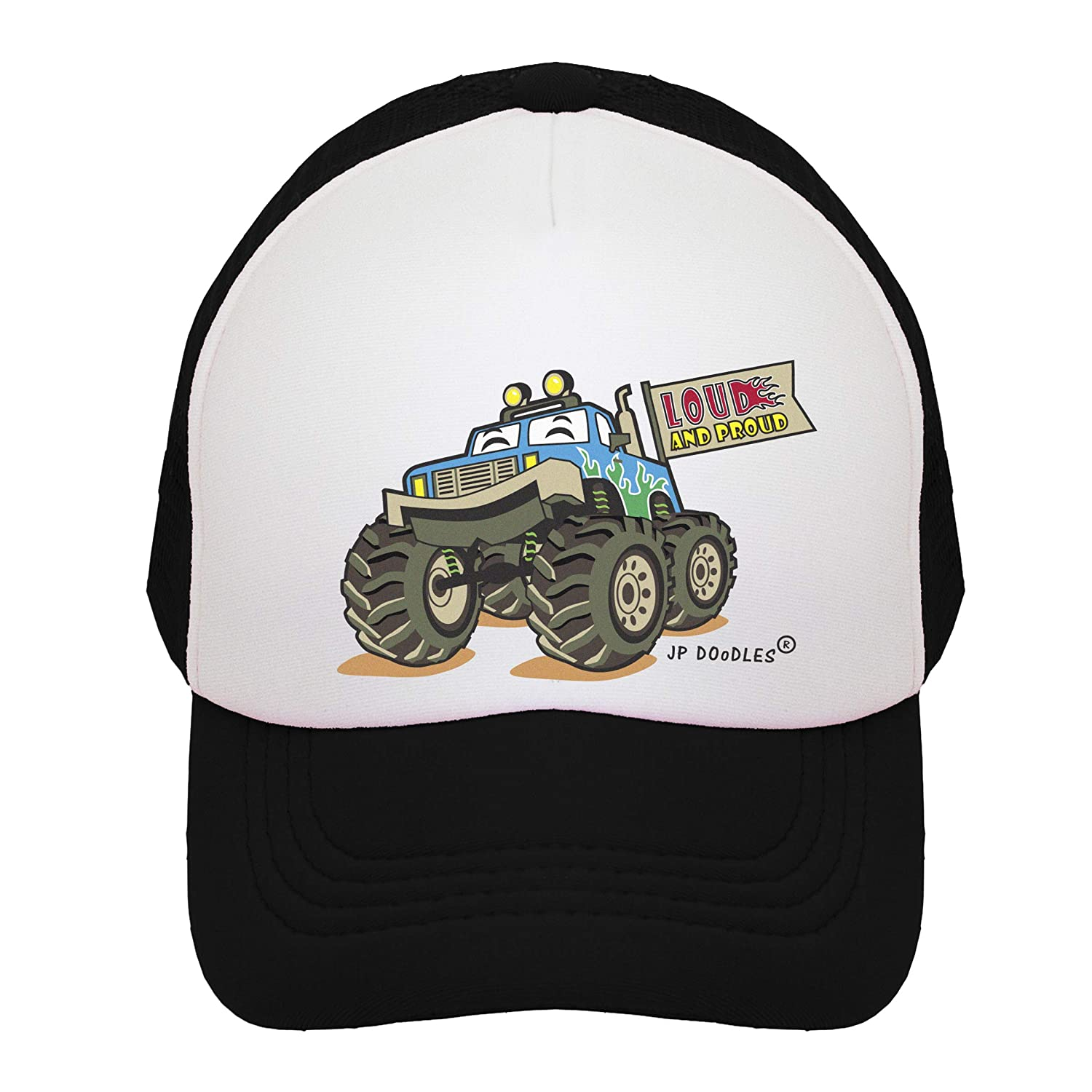 bc1315cd919 Amazon.com  JP DOoDLES Monster Truck on Kids Trucker Hat. Available in  Baby