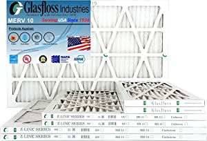 "Glasfloss 20x30x1, 1"" MERV 10 Pleated AC Air Furnace Filter- (Pack of 12)- Proudly Made In The USA."