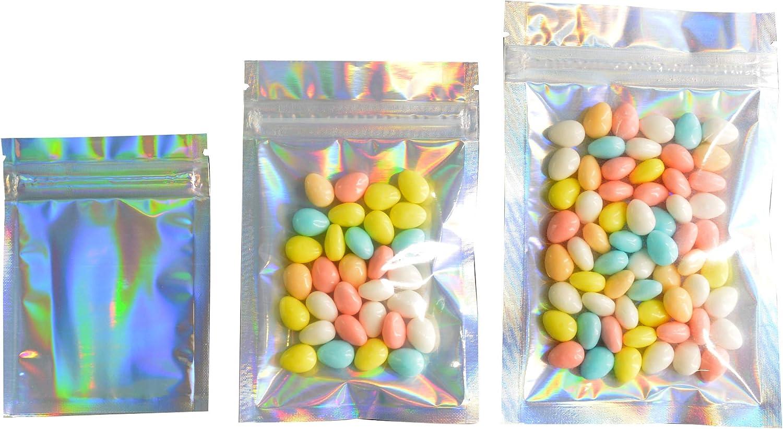 "100 Pcs Hologram Aluminum Foil Zip Lock Bags Glitter Laser Plastic Mylar Pouch Food Storage Bags Moisture Proof Bags Keep Aroma Pouch (Transparent & Holograms Zip Lock, 14x20 cm(5.51""x7.87""))"