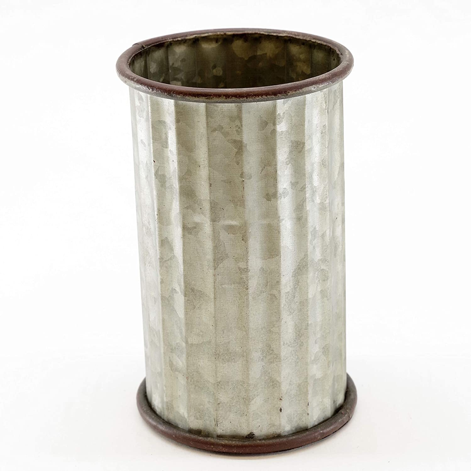 Corrugated tin vase