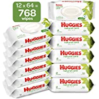 HUGGIES Natural Care Unscented Baby Wipes, Sensitive, Water-Based, 12 Total Flip Top Packs, 768 Count