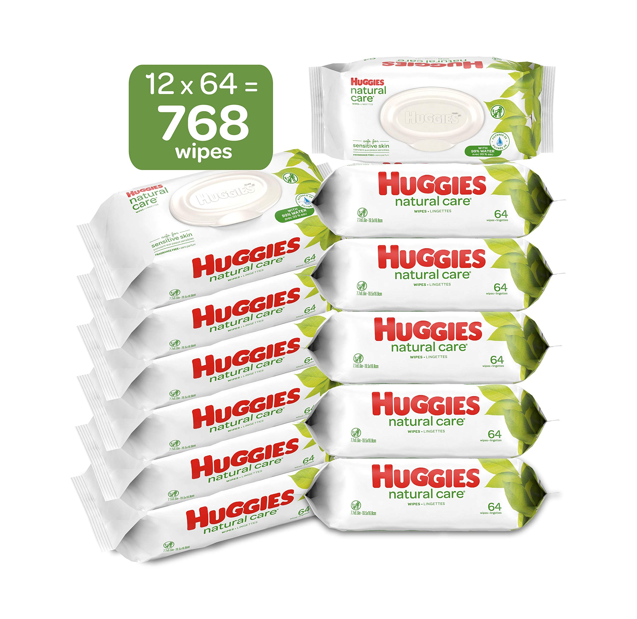 HUGGIES Natural Care Unscented Baby Wipes, Sensitive, Water-Based, 12 Total Flip Top Packs, 768 Count by HUGGIES