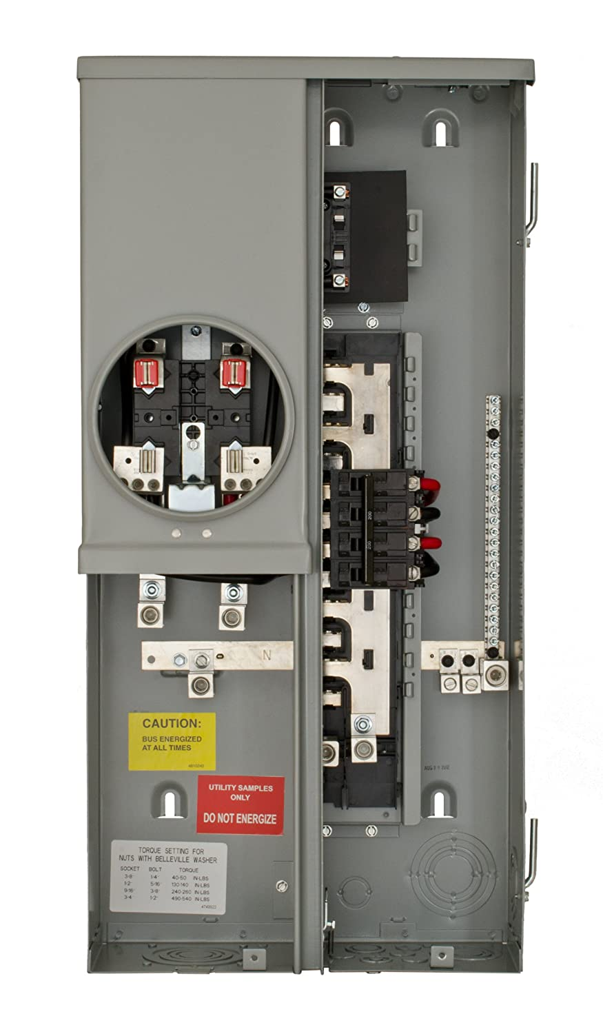 Siemens MC0816B1200ESN 8 Space 16 Circuit 200-Amp Surface Mount Meter Load Center Combo with Feed Thru Lugs Ring Type Cover and Additional 50-Amp Provision
