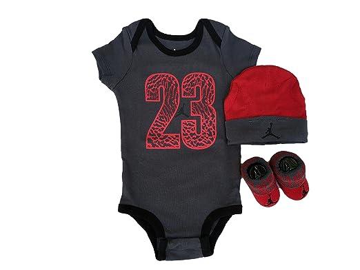 online store 9a221 d6df5 Nike Jordan Baby Jumpman Air Body Mütze Socken Booties Infant Jungen Set  (Anthrazit Grau Rot