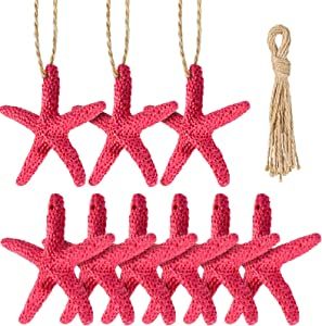 20 Pieces Christmas Resin Starfish with Rope Christmas Tree Hanging Ornaments 2.3 Inches for DIY Beach Home Decoration Crafts