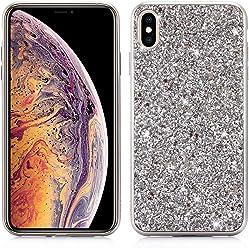 Girlscases® | iPhone XR Hülle Glitzer Schutzhülle mit Muster aus Silikon | Diamant/Glitter/Strass Rückseite/Motiv Glänzend | Farbe: Silber Glitzer