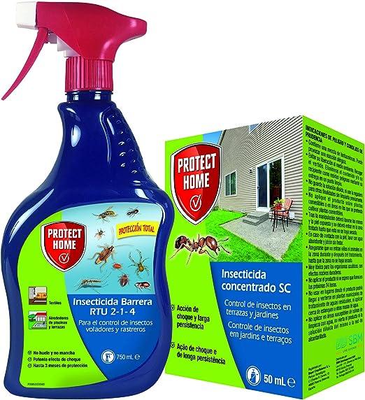 Protect Home - Kit insecticida protección total interior y exterior, rastreros y voladores, liquido concentrado + spray insecticida: Amazon.es: Jardín