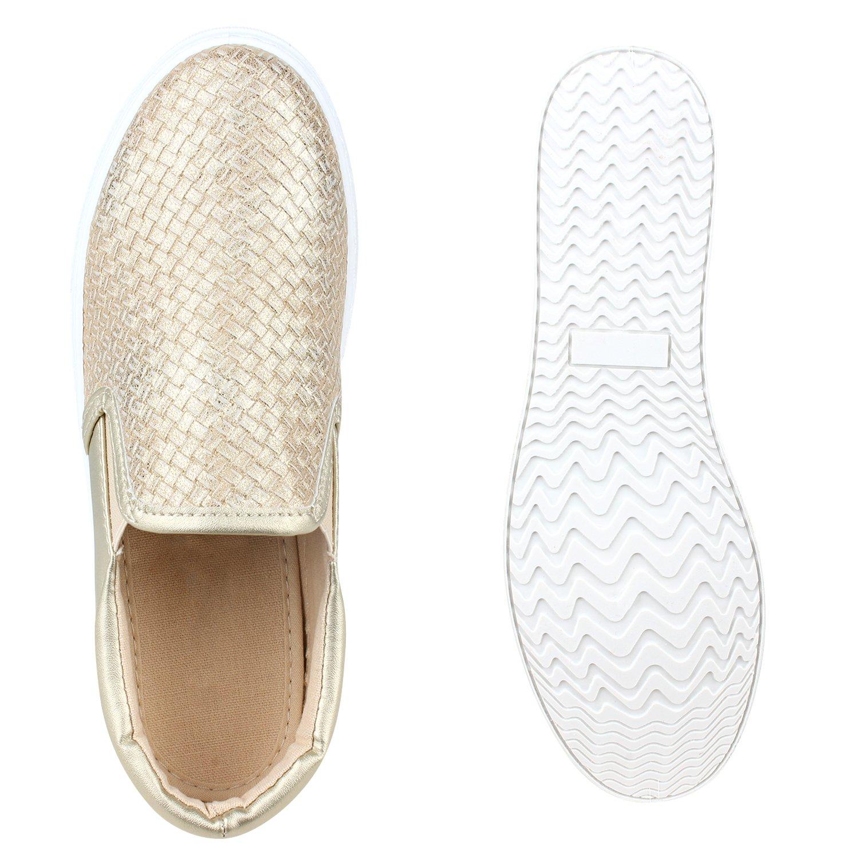 Stiefelparadies Unisex Damen Herren Flandell Sneaker Slip Ons Übergrößen Flandell Herren Gold Weißs 74929d