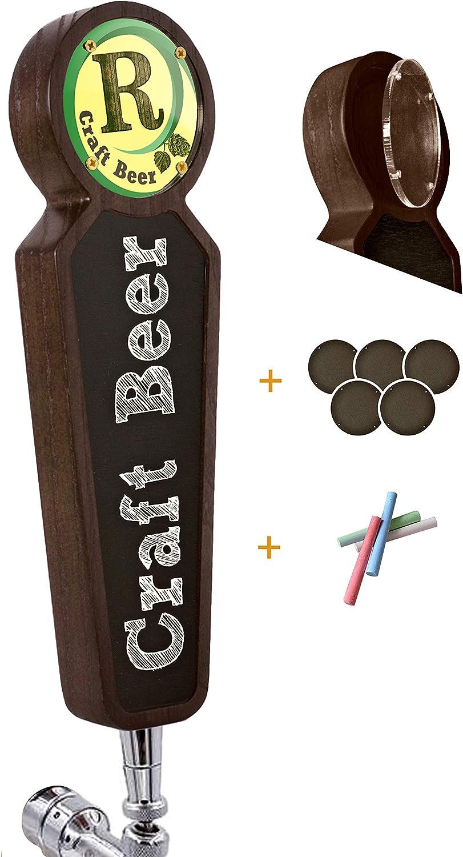 Asas grandes de madera para grifo Kegerator Bar Restaurant Cervecería Craft Cerveza Pulseras Mango de la Etiqueta para todos los amantes de la cerveza (claro) (oscuro)