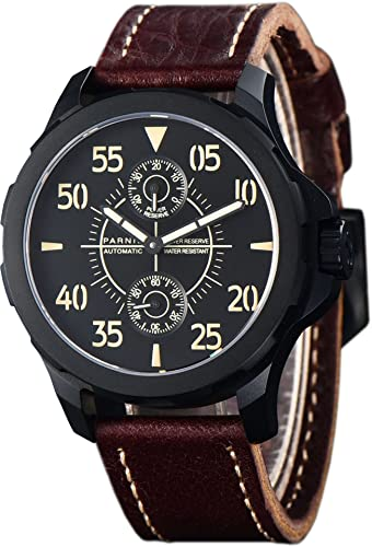 PARNIS Planeador Reloj 2155 PVD de Negro recubierta Planeador de reloj automático con nachtleuchtenden fosforescentes y indices Cristal de zafiro Reserva ...