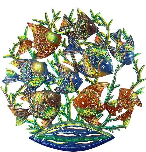 Global Crafts 24″ Recycled Handmade Haitian Metal Wall Art Sea Life