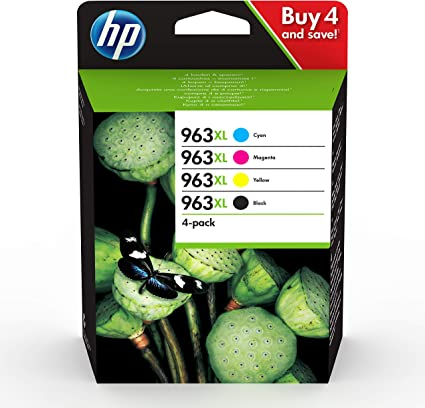 Oferta amazon: HP 963XL 3YP35AE, Pack de 4, Cartuchos de Tinta Originales de alto rendimiento, negro y tricolor, compatible con impresoras de inyección de tinta HP OfficeJet Pro Series 9010, 9020
