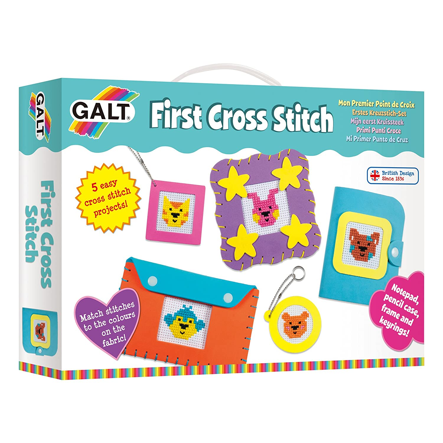 Galt Toys First Cross Stitch, Embroidery Craft Kit for Children 1005008