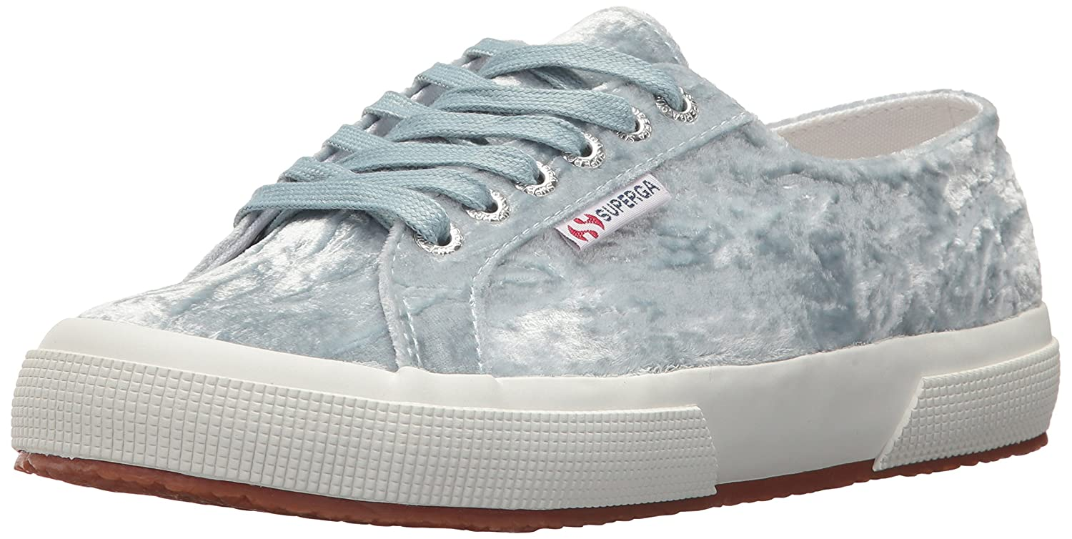 Superga Women's 2750 Crush Velvet Sneaker B073HBFZPN 38 M EU (7.5 US)|Light Blue