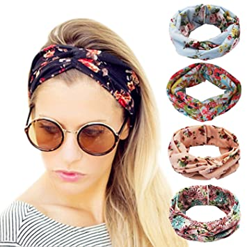 Headbands Vintage Elastic Head Wrap Hair Bands Stretchy Hairband Twisted Cross-Head Scarf Solid Color Wide-Brimmed Headbands Hairbands Accessory Womens Headwraps Hair Bands