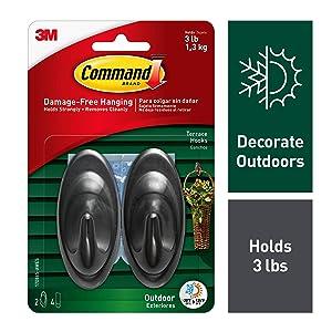 Command Outdoor Terrace Hook, Medium, Slate, 2-Hooks (17086S-AWES) - 17086S-AW-E