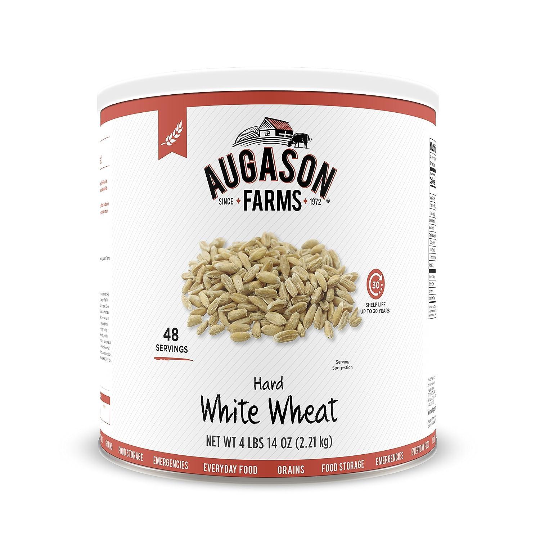 Amazon.com : Augason Farms Hard White Wheat 4 lbs 14 oz No. 10 Can ...