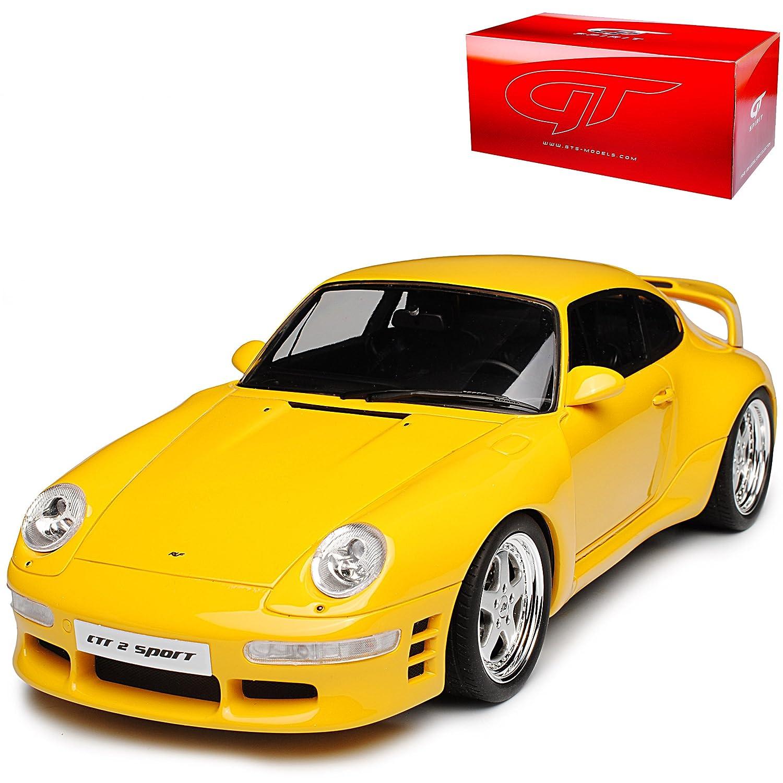 GT Spirit Porsche 911 993 Turbo RUF CTR 2 Coupe Gelb 1993-1998 Nr 141 1/18 Modell Auto