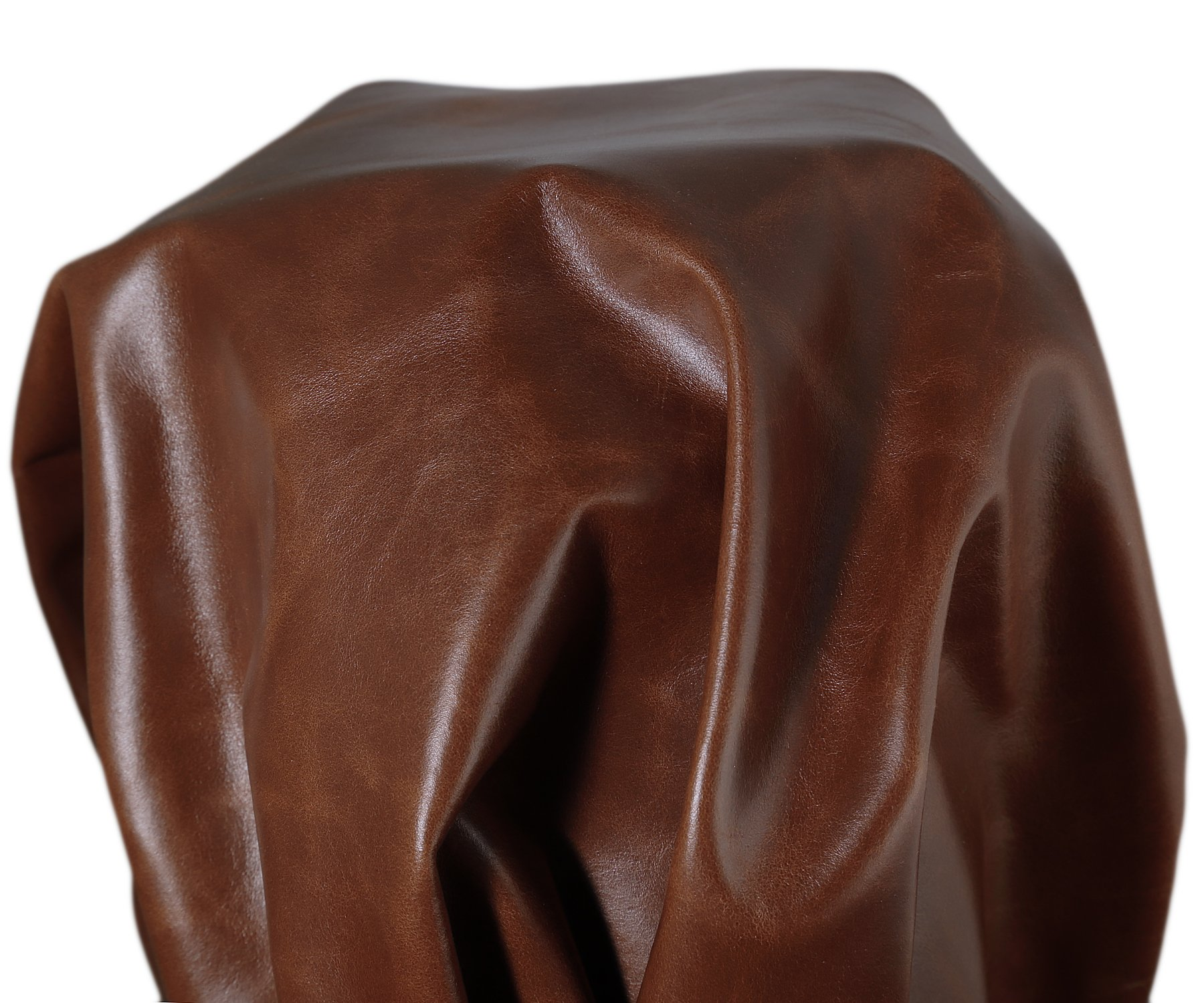 NAT Leathers Tan Brown Oil Pull-up two tone Italian 16-20 Square Feet (about 28x 50 inches in main part of skin) Nappa Soft Upholstery Chap Handbag Cowhide Genuine Cow Leather Hide Skin (16-20 Sq. Ft)