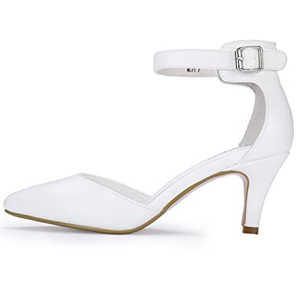 a27768c907fb6f IDIFU Women s IN3 D Orsay Pointed Toe Ankle Strap Mid Heel Pump (White PU